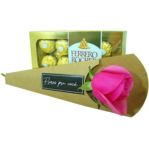 Buquê Rosa cor de Rosa com Ferrero Rocher