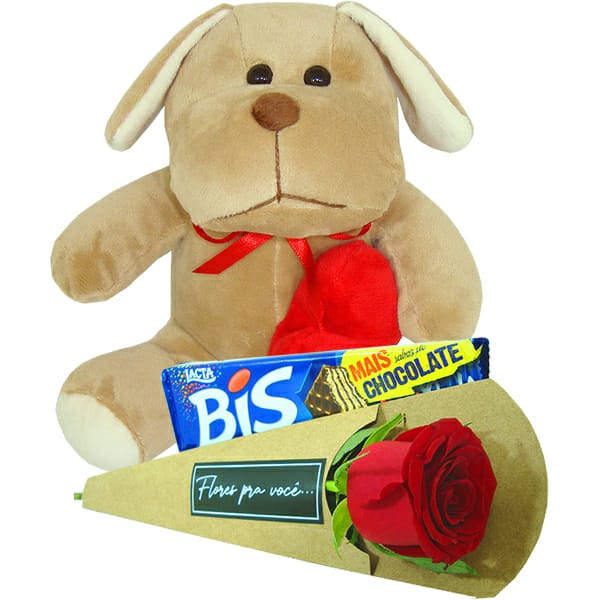Urso Orelhudo com Rosas e Bis