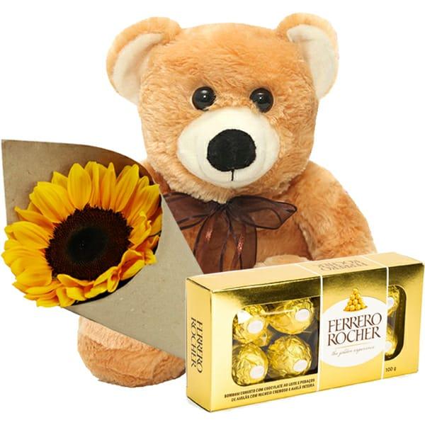 Urso com Girassol e Chocolate