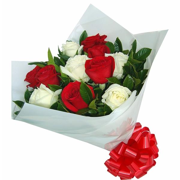 Buquê de Rosas Branca e Vermelhas