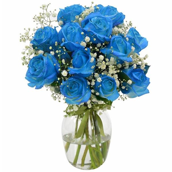 Buqu� de Rosas Azul no Vaso