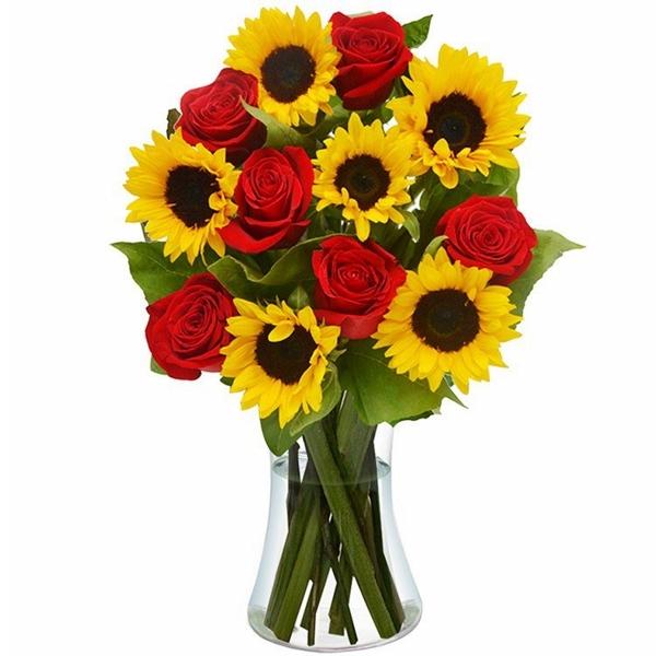Girassol e Rosas no Vaso