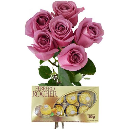 6 Rosas Lil�s e Chocolate