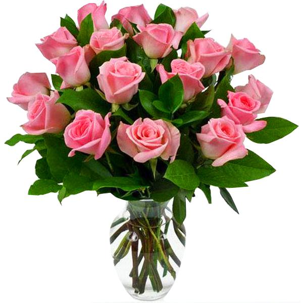 Arranjo com 18 Rosas em Tons Rosados