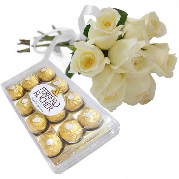 7 Rosas Branca e Chocolate