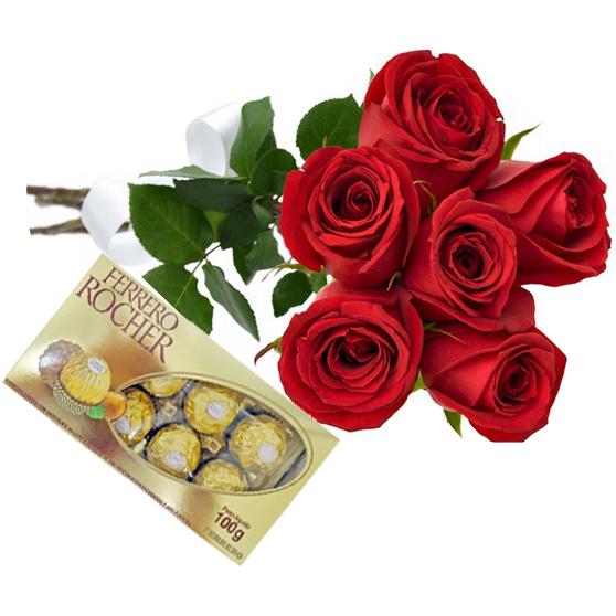 Arranjo de Rosas Vermelhas e Chocolate