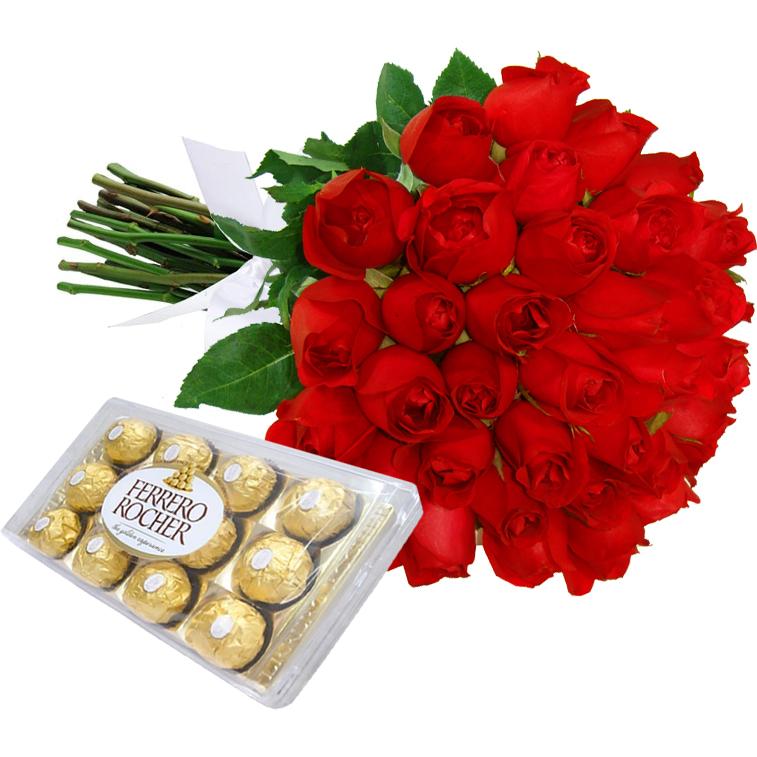 Buquê com 36 Rosas Vermelhas e Chocolate