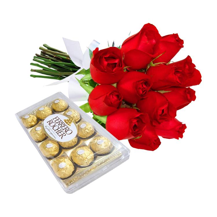 12 Rosas Vermelhas e Chocolate