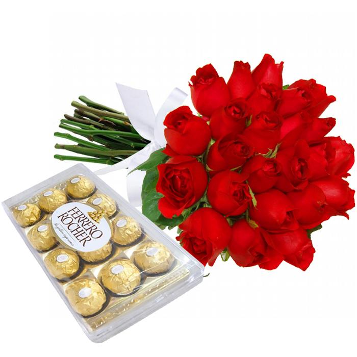 Buquê de 24 Rosas Vermelhas e Chocolate