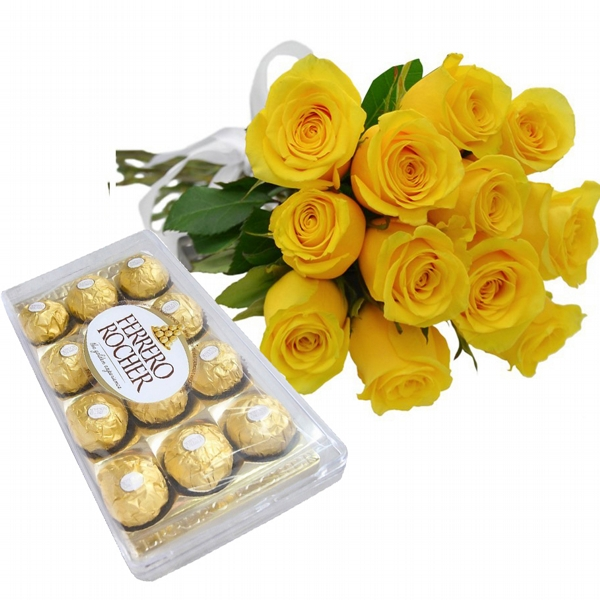 12 Rosas Amarelas e Chocolate
