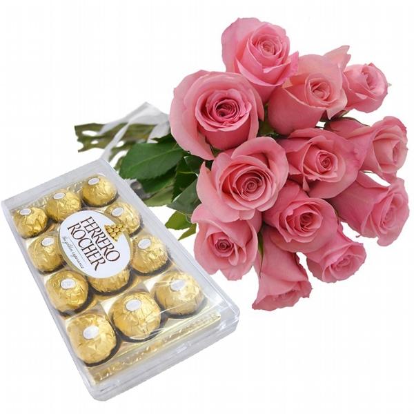 12 Rosas Cor de Rosa e Chocolate