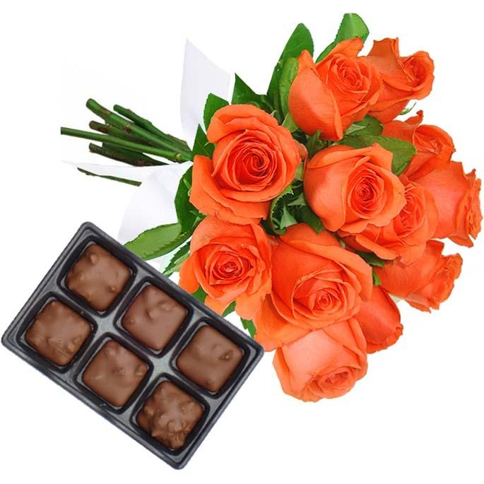 Buquê Rosas Laranja com Chocolate