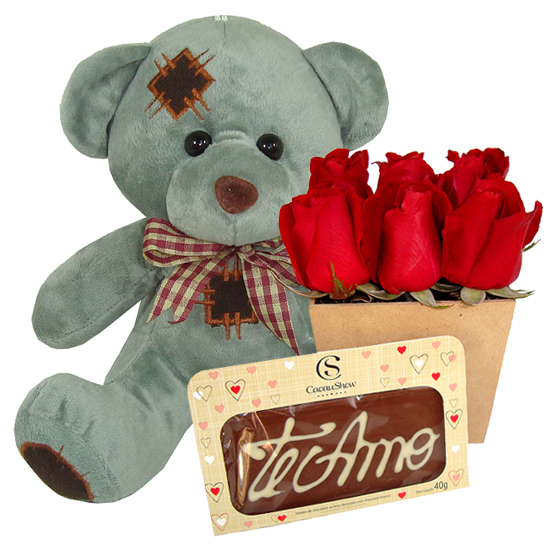 Urso Flores e Chocolate