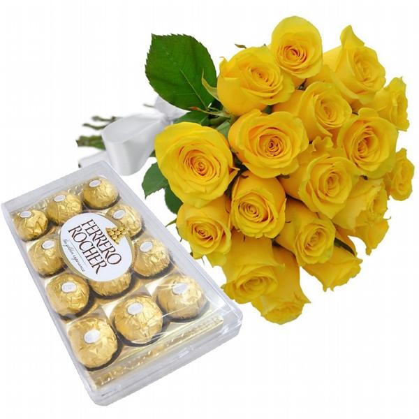18 Rosas Amarelas com Chocolate