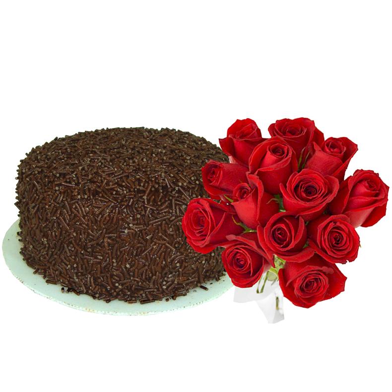 Bolo e Rosas Vermelhas