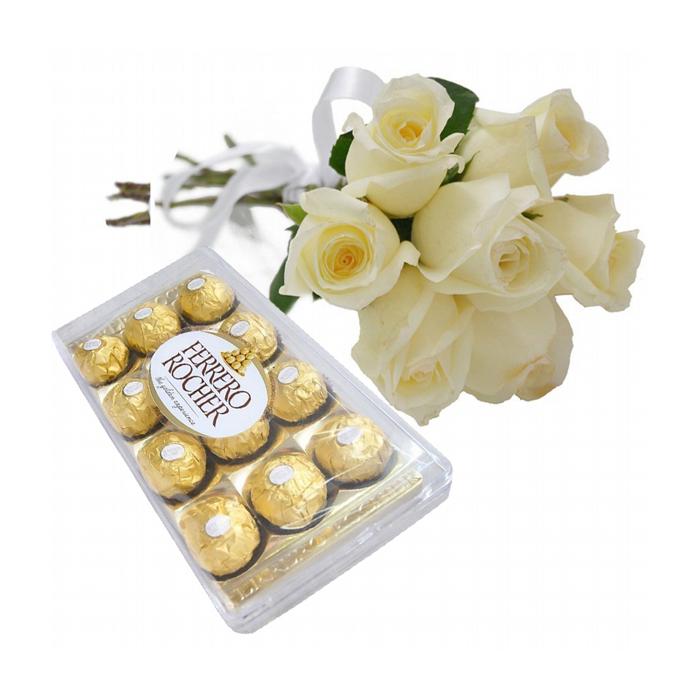 Rosas Branca com Chocolate