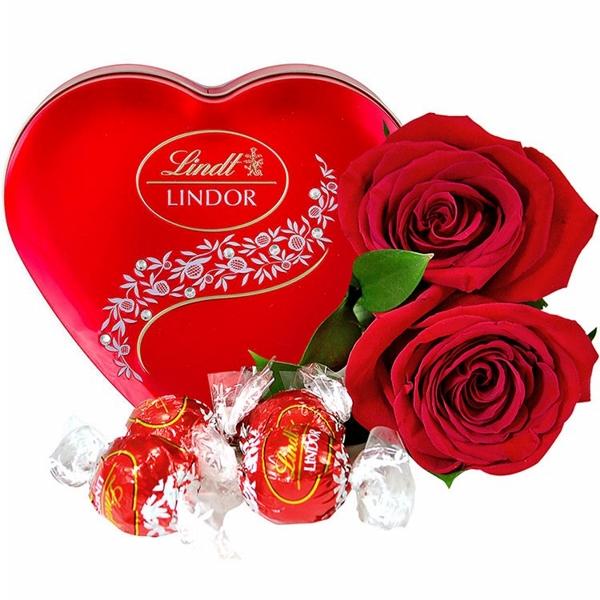 Dupla Romântica Rosas Vermelhas e Lindt