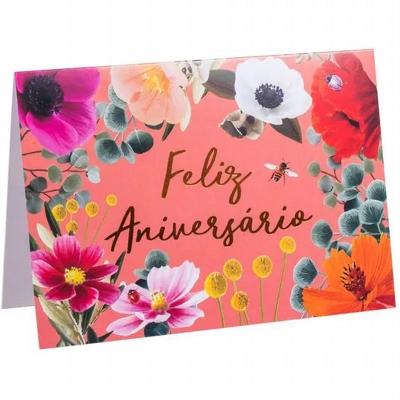 Cartão Feliz Aniversário Florido