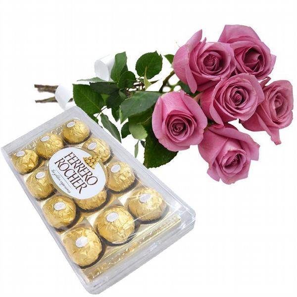 6 Rosas Lilás com Chocolates