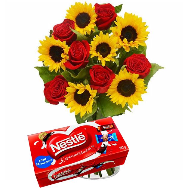 Girassol e Rosas lindo Vaso com Bombons