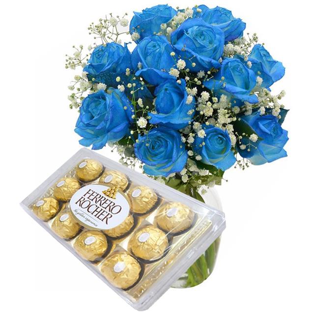 Rosas Azuis em Vaso com Chocolate