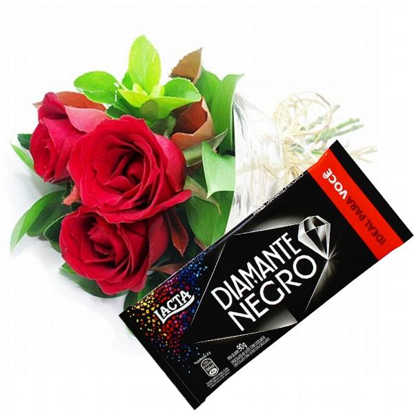 Trio de Rosas e Diamante Negro