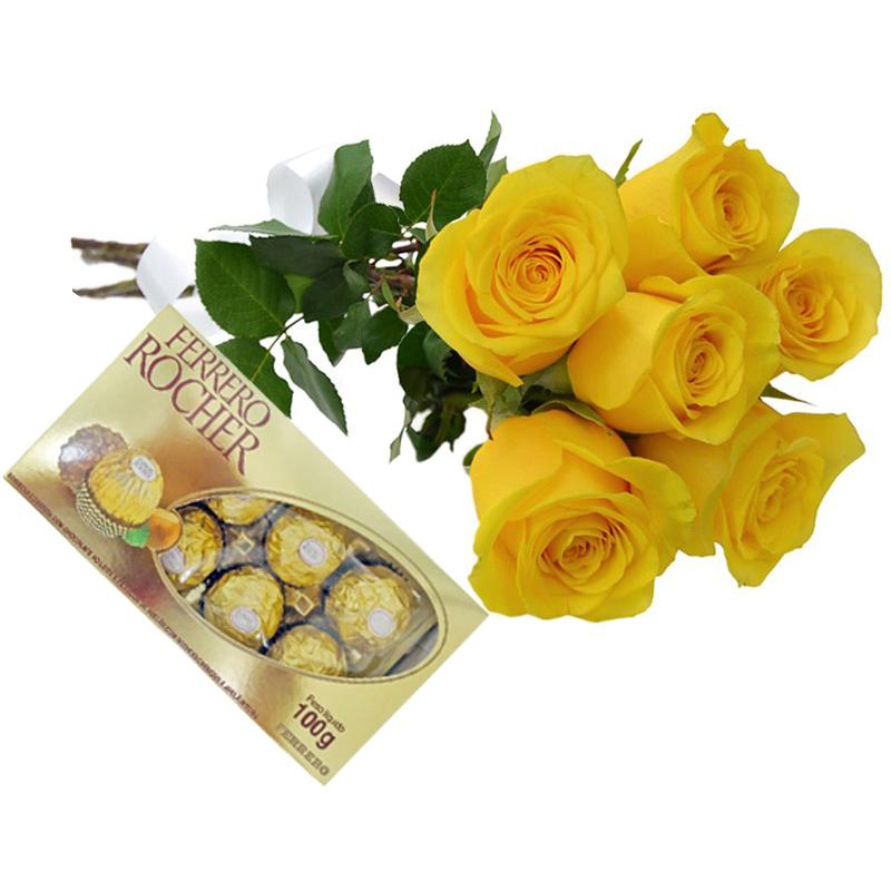 Arranjo de Rosas Amarela e Chocolate