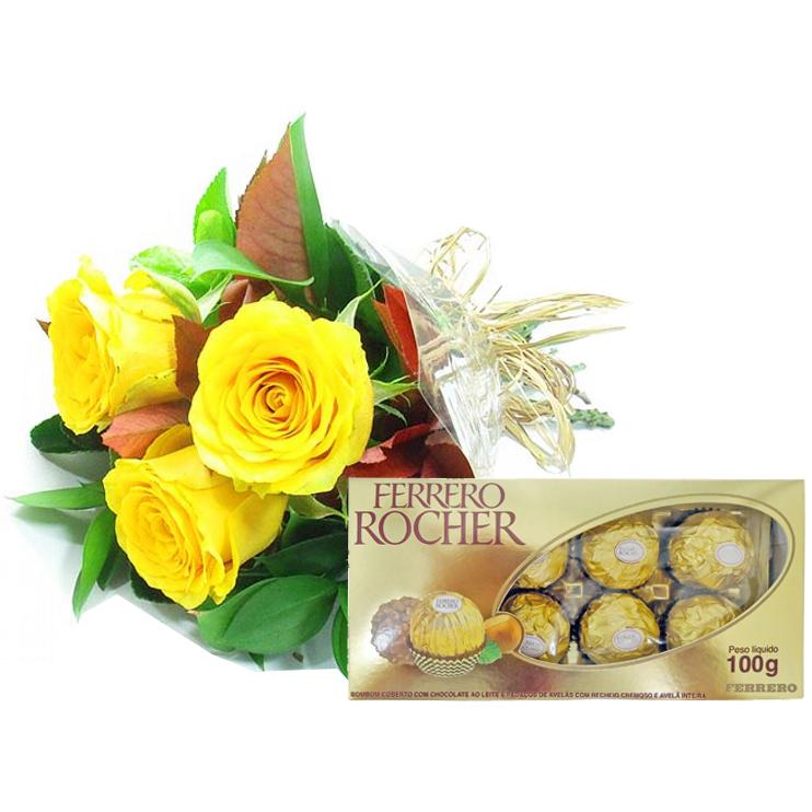 Arranjo de Rosas Amarelas e Chocolate