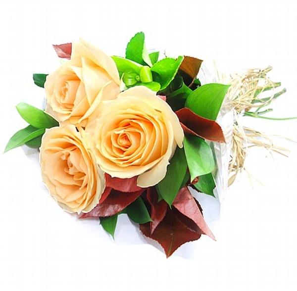 Mini Buquê de Rosas cor  Champanhe