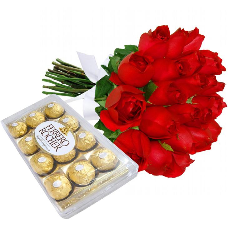Buquê com 18 Rosas Vermelhas e Chocolates