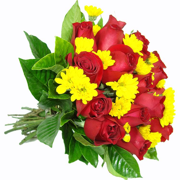 Rosas com lindas margaridas amarelas