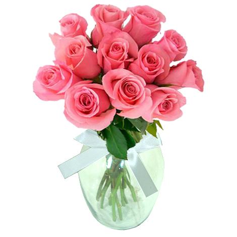 Rosas Cor de Rosa no Vaso
