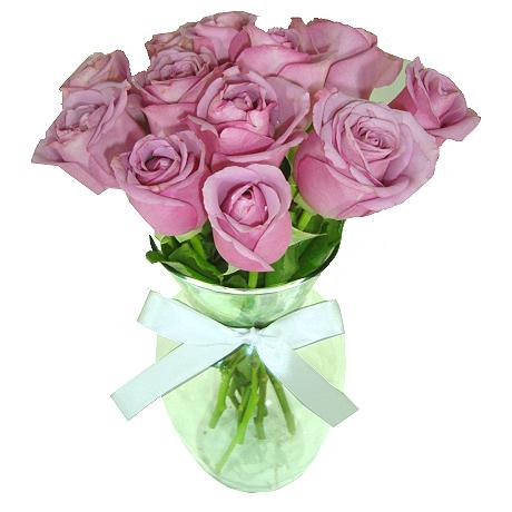 Rosas lilás no Vaso