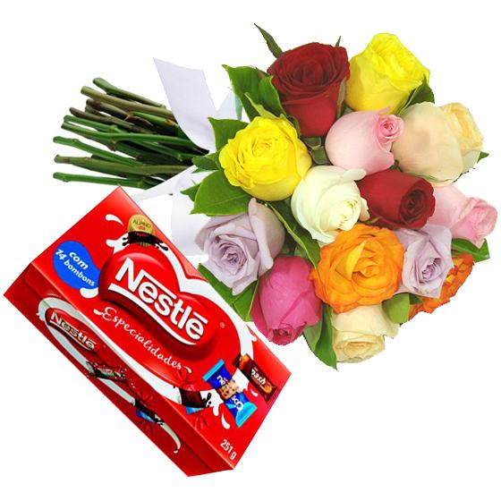 Buquê Colorido e Chocolates Nestle