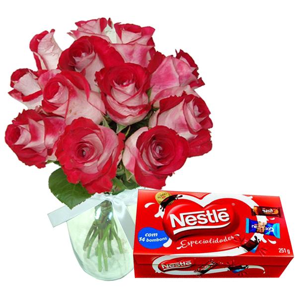 Vaso Tropical com Chocolates Nestle