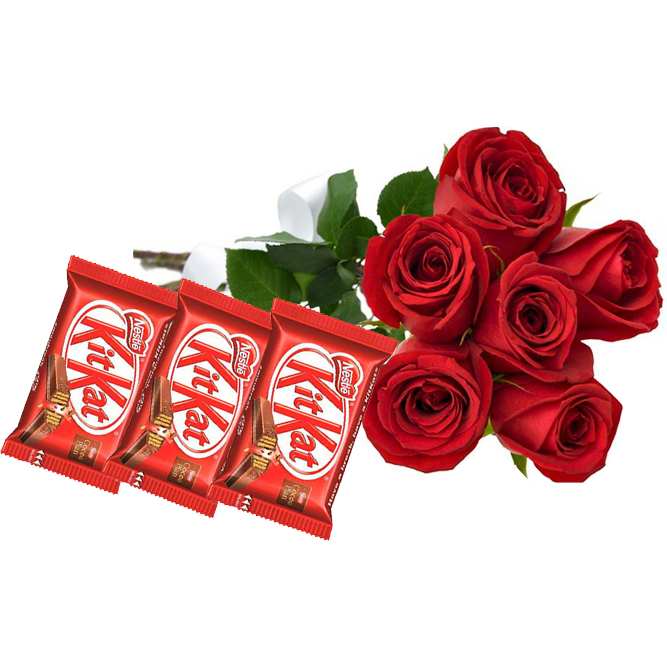 Buquê Rosas Vermelhas e Trio KitKat