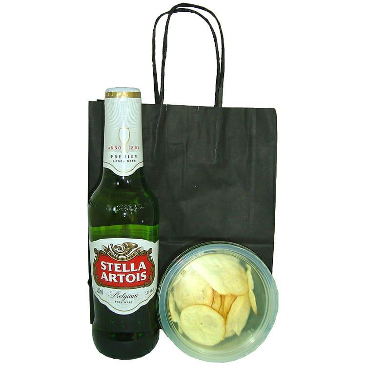 Stella Artois e Aperitivo Chips de Provolone